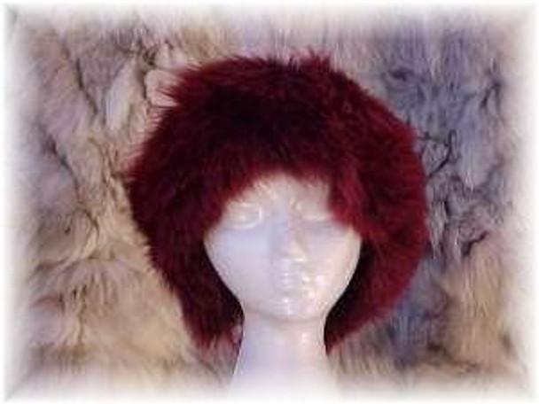 Dyed Burgundy Full Pelt Fox Fur Head Wrap