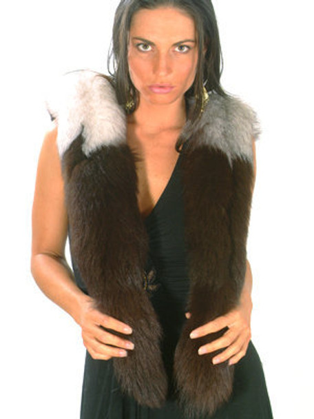Multicolor Fox Fur Scarf One Of the A Kind
