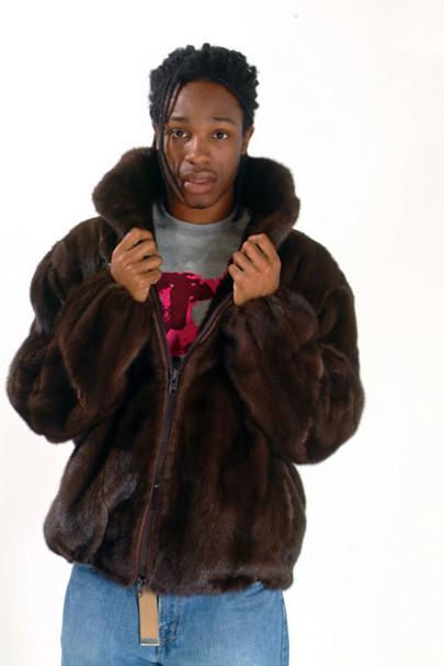 Brown Mink Bomber Fur Jacket