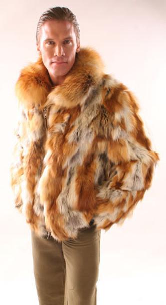 Sectional Fox Fur Bomber with Fullskin Collar