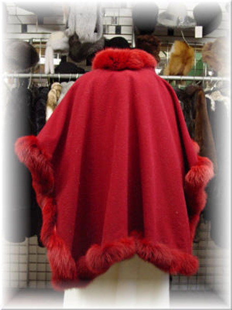 Burgundy Fur Cape trimmed with Burgundy Fox