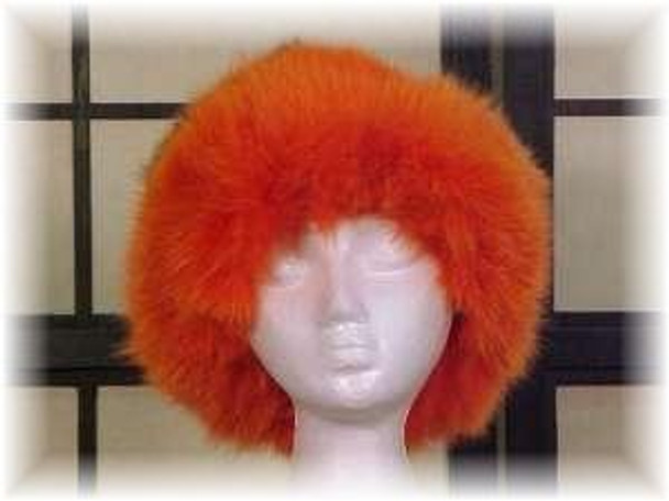 Ranch Mink Fur Hat with Dyed Orange Fox Fur
