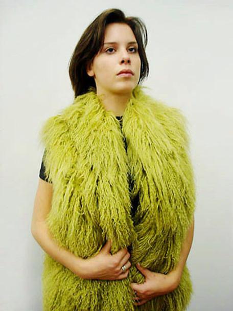 Green Fur Curly Vest