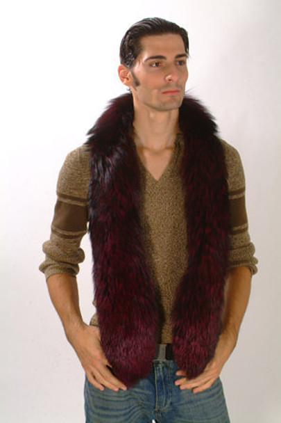 Burgundy Fox Fur Men's Design Sectional Scarf