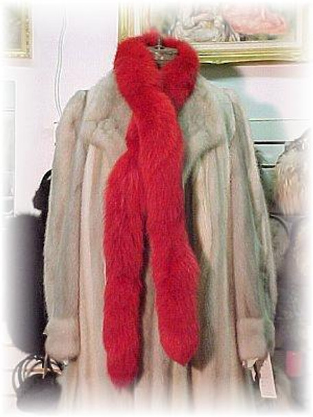 Dyed Red Fox Tail Fur Scarf 1