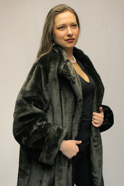 Faux Fur Brown Mink 3/4 Jacket