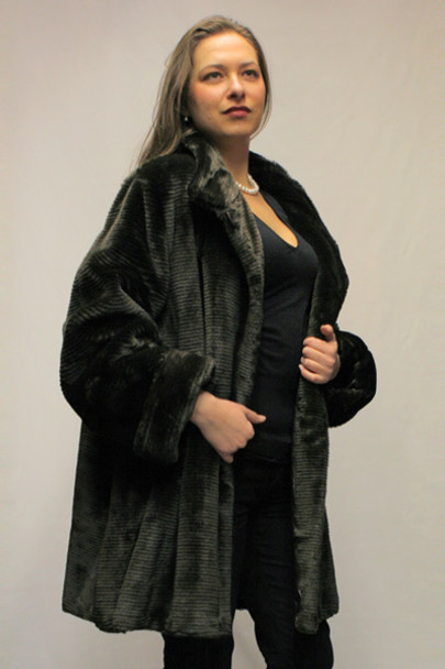 af30c0372195 Faux Fur Brown Mink 3/4 Jacket - furoutlet - fur coat, fur jackets ...