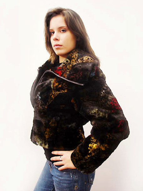 Sheared Fox Fur Print Woman's Jacket