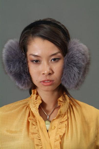 Gray Fox Fur Earmuffs 1