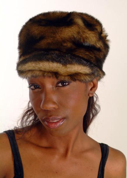 Brown Faux Fur Women's Cap Style