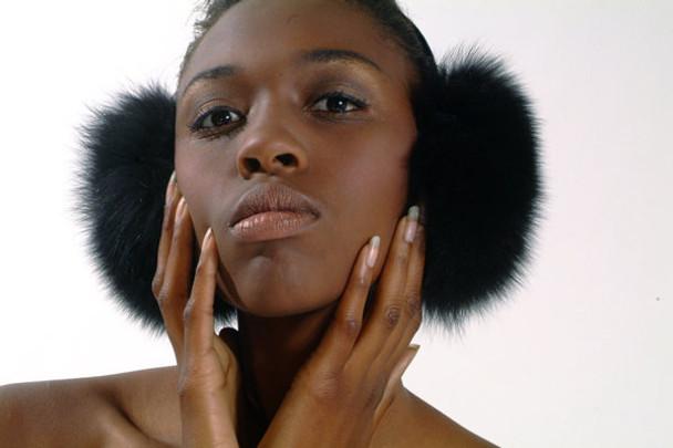 Black Fox Fur Earmuffs