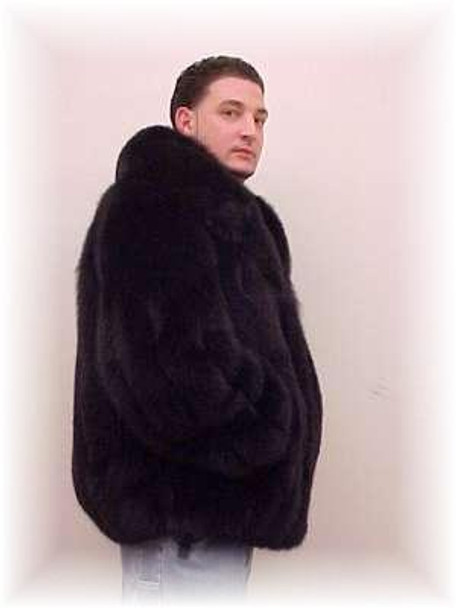 Full Skin Black Fox Bomber Fur Jacket