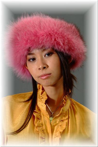 Dyed Pink Fox Fur Head Wrap Full Skin