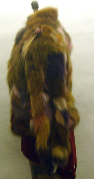 Multicolor Fox Fur with Leather Belt