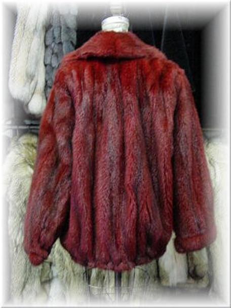 Full Skin Dyed Burgundy Mink Bomber Fur Jacket