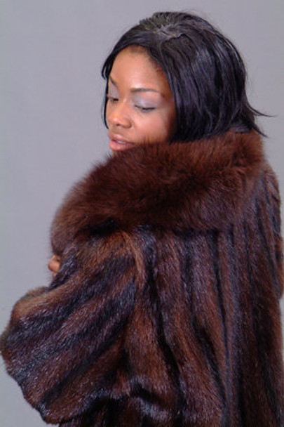 Marmot Fur Coat with Fox Collar & Cuffs