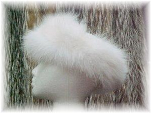 White Fox Full Skin Fur Head Wrap