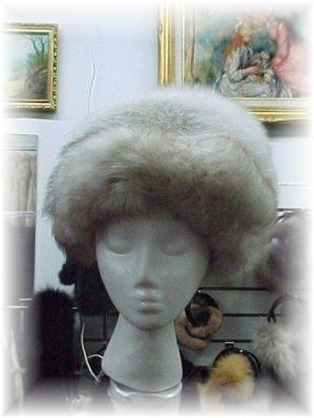Snowtop Fox Fur Hat with Blue Fox Trim