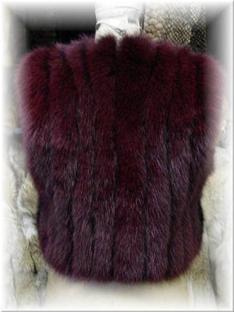 Full Skin Burgundy Fox Fur Vest