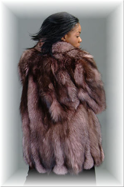 Dyed Burgundy Fox Fur 3/4 Jacket
