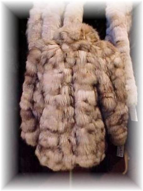 Sectional Crystal Fox Fur Jacket