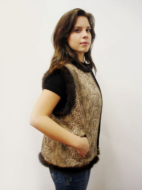 Brown Fur Snake Faux Skin Vest