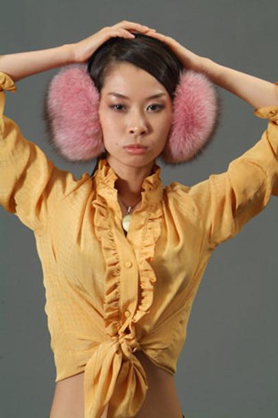 Pink Fox Fur Earmuffs