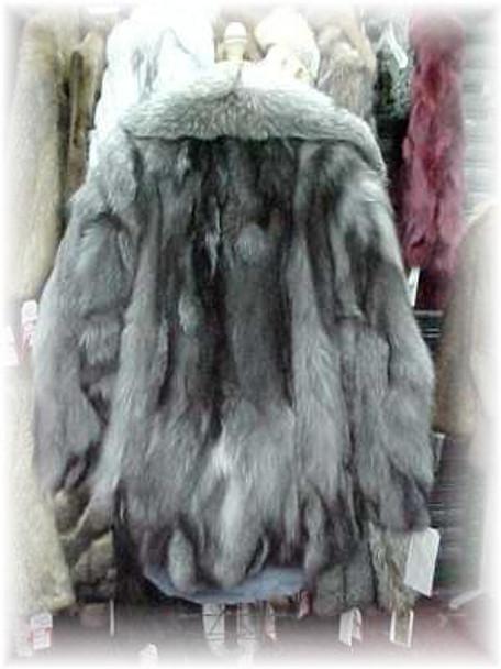 Indigo Fox Fur Jacket with Full Skin Fur Collar