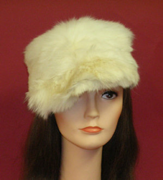 White Faux Rabbit Fur Hat