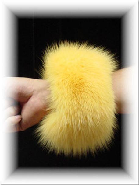 Dyed Yellow Full Skin Fox Fur Cuffs