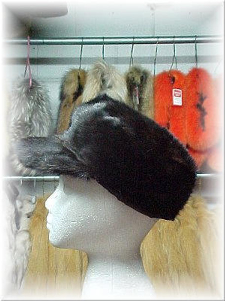 Full Skin Black Mink Fur Cap