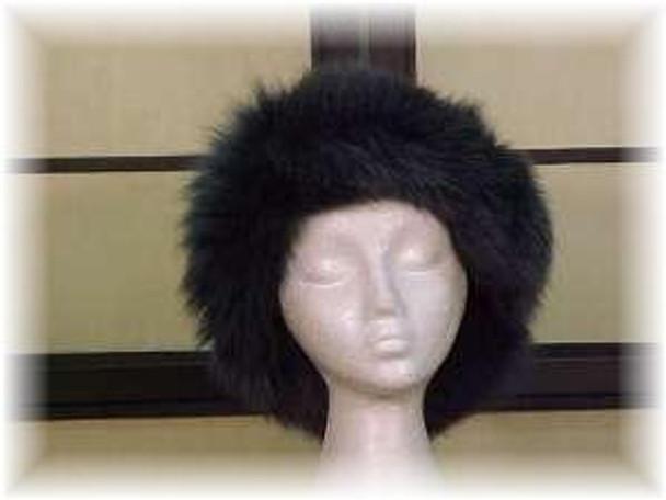 Raccoon Fur Hat with Dyed Blue Fox Trim