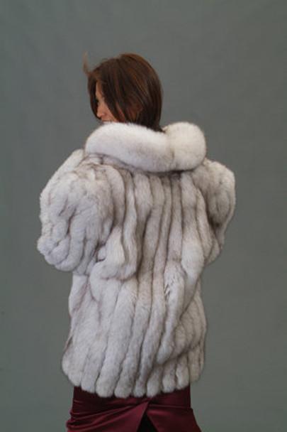 Natural Blue Fox Fur 3/4 Jacket 1