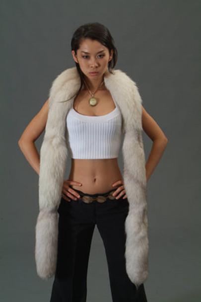 Natural Blue Fox Tail Fur Scarf
