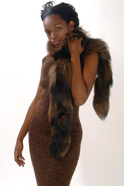 Brown Fox Fur Women's Scarf