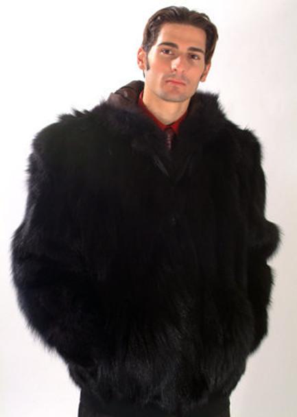 Men's Black Fox Bomber Fur Jacket