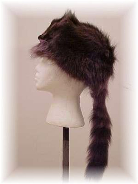 "Dyed Blue Raccoon ""Daniel Boone"" Fur Hat with Face"