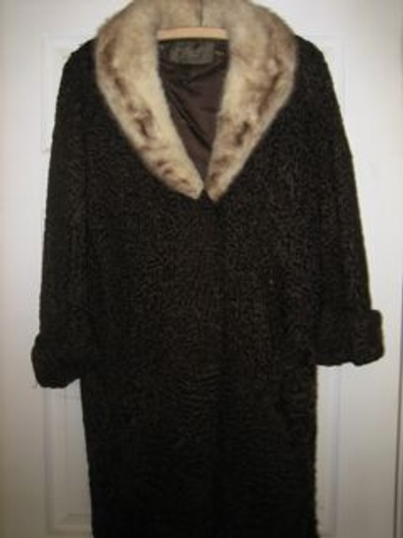 Brown Persian Lamb Coat and Hat with Mink Collar