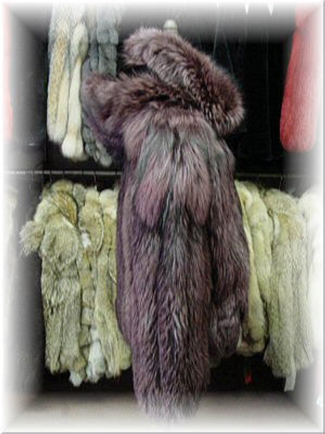 Full Skin Dyed Silver Fox Bomber Fur Jacket