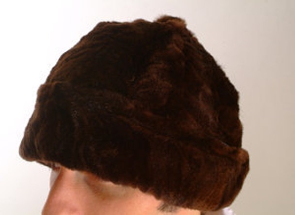 Brown Mink Fur Skully Hat Men's