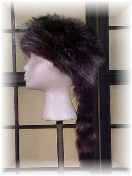 "Dyed Blue Raccoon ""Daniel Boone"" Fur Hat"