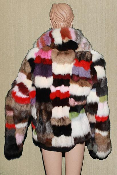 Multi Color Fox Fur Jacket 1
