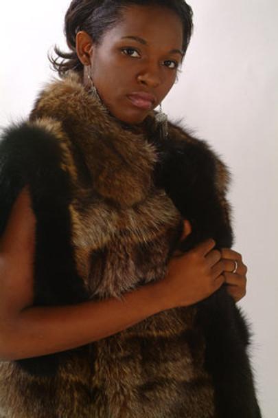 Black Raccoon Faux Fur Vest Trim