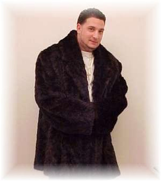Black 3/4 Length Mink Fur Jacket