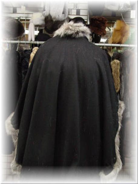 Cape with Indigo Fox Fur Trim