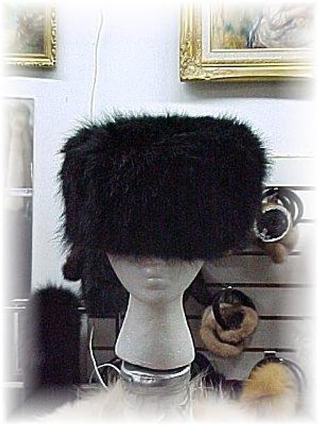 Full Skin Dyed Black Raccoon Fur Hat
