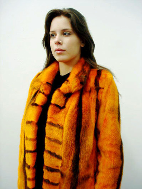 Orange Mink Fur Design Full Skin Jacket
