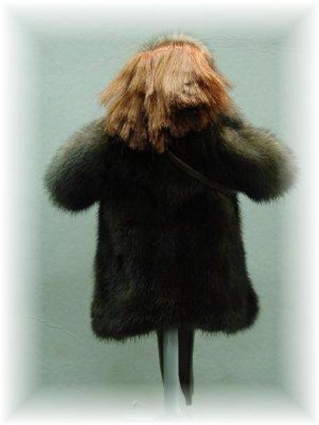 Doll's Full Skin Mahogany & Snowtop Mink Fur Coat