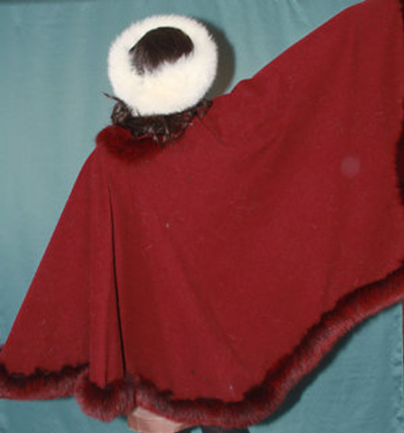 Red Cape with Fox Fur Trim 1