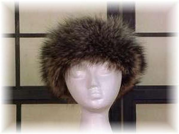 Full Skin Raccoon Fur Head Wrap